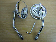 "3"" Round Mirror ( Sold in PAIRS ) 4"" Stem for Harley Davidson Chopper Bobber"