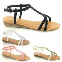 LADIES FLAT LOW WEDGE SANDALS SUMMER FANCY BEACH STRAPPY GLADIATOR SHOES SIZE