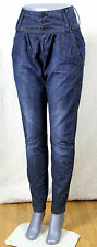 HAREM STYLE HIGH WAIST BLUE DENIM BAGGY BOYFRIEND LIGHTWEIGHT JEANS TROUSERS 34""
