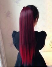 "Women straight wine red gradien Ponytail 50% human Hair Extensions 19.6""po283"