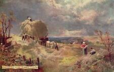 Carting Hay on the Sussex Downs Artist illustrated old pc Tuck Oilette 7409