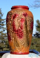 Exquisite LARGE antique GOOFUS GLASS hand blown PICKLE JAR vase COCKATIEL
