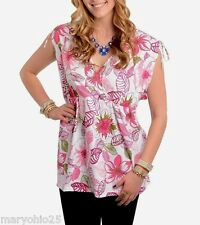 LR2 NEW SEXY Women's TOP White Pink Blouse Floral Empire PLUS SIZE 3XL 3X Large