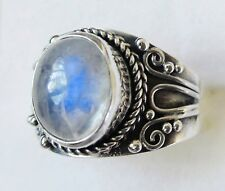 Rainbow Moonstone Artisan Designed Ring in 925 Sterling Silver size 5.75