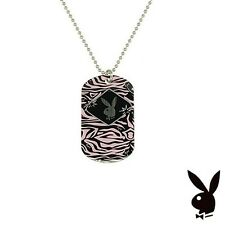 Playboy Necklace Dog Tag Bunny Pink Black Zebra Stripes Stainless Steel Pendant