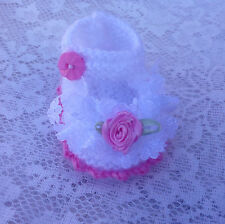 BABY HAND KNITTED LACE/ROSE SHOES/BOOTIES/NEWBORN/REBORN/PHOTO PROP/8 CMS