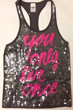 Victoria's Secret VS PINK You Only Live Once Gray Sequin Bling Tank Top XS New