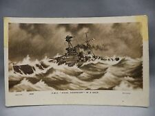 Vintage Postcard HMS Royal Sovereign in a Gale WWI Navy Ship Vessel Military