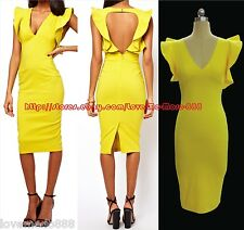Vintage Cocktail Celebrity Party Club Slim Fit BODYCON Midi Dress Yellow SMALL