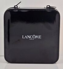 Lancome Black Leather Like Small Cosmetic Hard Case Zipper Closure NEW