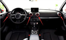 Interior Dashboard Red Air Vent Outlet Cover Trim 4pcs For Audi A3 8V 2012-2015