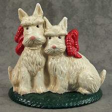 SCOTTIE DOG WHITE SCOTTISH TERRIER Cast Iron DOORSTOP w/ RED BOW