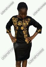 Odeneho Wear Ladies Black Polished Cotton Dress/Embroidery.African Clothing.