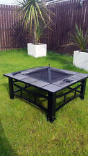 Garden Firepit PATIO HEATER Stufa SQUARE Brazier tavola Estate TILE LARGE NERO