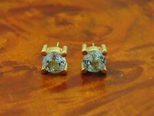 14kt 585 GELB GOLD OHRSTECKER MIT 3,4ct BLAU TOPAS BESATZ / OHRRINGE / 4,6g.
