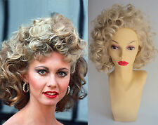 DELUXE SANDY GREASE PINK LADIES 1950's CURLY BLONDE COSTUME WIG