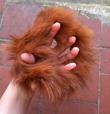 brown real genuine fox fur elastic stretchy hair band bobble tie scrunchies