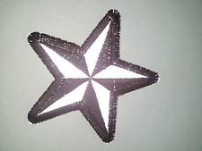 "(A56) Reflective Black & Silver Star 3"" iron on patch (1479) Biker Nautical"