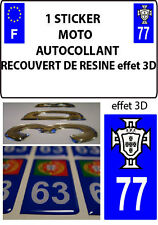 1 sticker plaque immatriculation MOTO TUNING 3D RESINE  FPF PORTUGAL DEPA 77