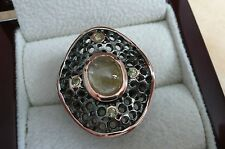 925 STERLING SILVER RHODIUM ROSE GOLD YELLOW SAPPHIRE CABOCHON RING SZ P 8
