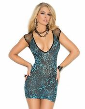 Animal Print Dress Women Blue Leopard Cleavage Diamond Net Short Sexy Mini Club