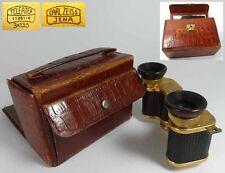 Antik Binocular Fernglas CARL ZEISS, Original Leder Tasche, 1920er Jahre