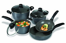 Stoneline Cookware Black Set 8 Pieces Aluminum Stewing Pan/ Fry Pan /Cooking Pot