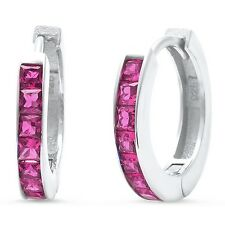 Princess Cut Ruby Hoop .925 Sterling Silver Earrings