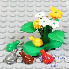 NEW Lego Minifig LILY PAD Green Plant w/Yellow Beetle Butterfly Flower Red Frog