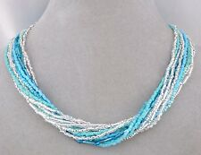 Blue Crystal Czech Glass Bead Necklace Magnetic Clasp Fashion Jewelry NEW
