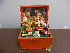 Vintage Christmas Music Box Wooden Toys We wish You A Merry Christmas Sanyo