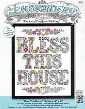 "Embroidery Kit~ Deisgn Works Zenbroider​y ""Bless This House"" 14"" x 18"" #DW4043"