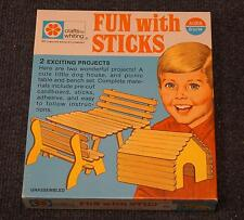 VTG 1971 Fun w/ Sticks Projects, Whiting Crafts, Dog House, Picnic Table, Bench