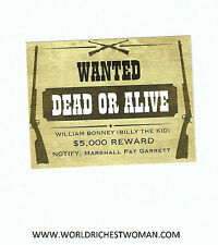 Billy The Kid Postcard - Wanted  DEAD or ALIVE  - set of 4 postcards