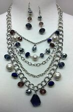 Silver and Purple Bead  and Pearl Necklace Set