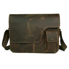 "Men's Genuine Leather Large Retro Messenger Bags Shoulder 14"" Macbook Laptop Bag"
