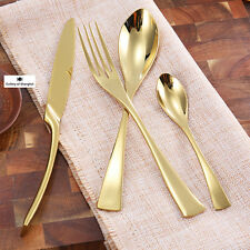 40 Pieces Stainless Steel Gold Dinnerware Cutlery Set Knife Fork Spoon Teaspoon