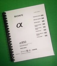 COLOR PRINTED Sony Camera DSLR A850 Instruction Manual Guide 171 Pages