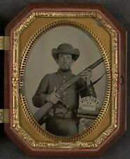 Photo Civil War Confederate In Uniform With Musket and Knife Victory or Death