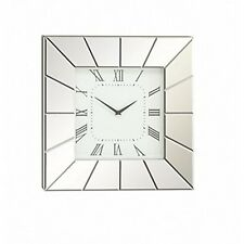 Deco 79 Wood Mirror Wall Clock 20 By 20-Inch Polished Silver New