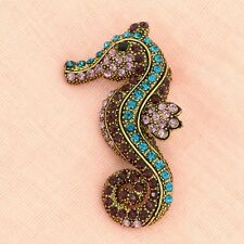 Seahorse Brooch W Swarovski Crystal Ocean Sea Vintage Inspired Old Gold Finish