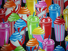 CLEARANCE FQ BRIGHT SLUSHEE SLUSH ICE DRINK LOLLY FABRIC KITSCH FOOD SUMMER