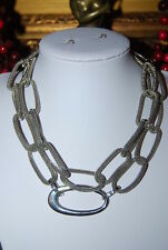 CHICOS BOLD RUNWAY COUTURE SILVER TONED METAL LONG OVAL LINKS STATEMENT NECKLACE