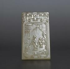 Antique Chinese Hand Carved Both Carved Nephrite Jade Pendant 100