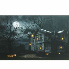 CE86089 Full Moon Haunted House w/Pumpkins Lighted Canvas Picture Art Halloween