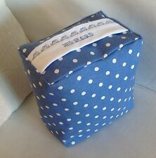 NEW BLUE WHITE SPOTTY FABRIC DOOR STOP  ..A GIFT FOR EDWARD ..UNFILLED