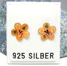 NEU 925 Silber OHRSTECKER mit BLÜTEN orange/rot/gelb OHRRINGE Blume BLÜTE Blumen