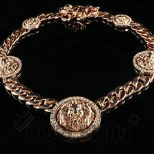 14k Rose Gold 15mm Five Head Lion ICED OUT Cuban Link Chain Hip Hop Necklace