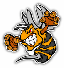 "Bee Hornet Fighting Mascot Cartoon Car Bumper Sticker Decal 5"" x 5"""