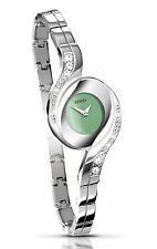 Seksy By Sekonda Ladies Silver Stone Set Watch With Peaerlescent Green Dial 4881